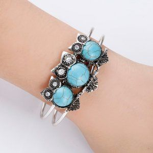 Jewelry - Owl Cuff Bangle Charm Bracelet